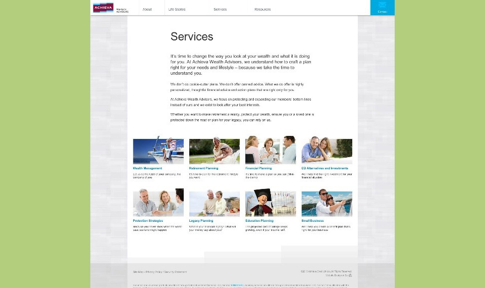 Achieva Wealth Advisors Services Page
